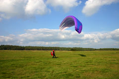 Couple on wing. Tandem flight with the paraglide Stock Image