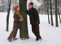 Couple. winter. Tree royalty free stock photography
