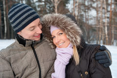 Couple on the winter background Royalty Free Stock Photos