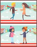 Couple in Winter City Posters Vector Illustration. Couple in winter city, collection of posters with dancing boy and girl, male and female playing snowball fight Royalty Free Stock Photo