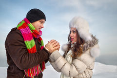 Couple in a winter clothes Stock Image
