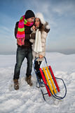 Couple in a winter clothes Royalty Free Stock Photography