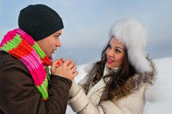 Couple in a winter clothes Stock Photos