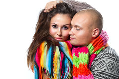 Couple in winter clothing Stock Photography