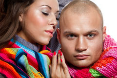 Couple in winter clothing Stock Images