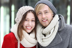 Couple in Winter Clothing Royalty Free Stock Photos