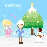 The couple in the winter stock illustration