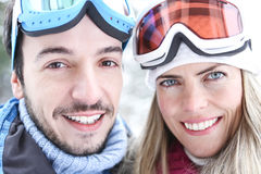 Couple in winter doing ski trip Stock Photo