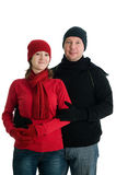 Couple in winter dress stock photo