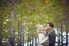 Couple in winter forest Stock Images