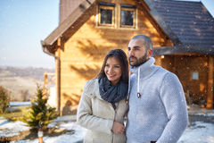 Couple on winter holiday Royalty Free Stock Image