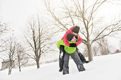 Couple on winter, man with his girlfriend royalty free stock image