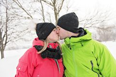 Couple on winter, man with his girlfriend stock photography