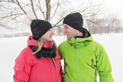 Couple on winter, man with his girlfriend royalty free stock photos