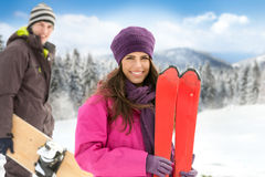 Couple in winter mountains Royalty Free Stock Image