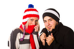 Couple in winter outfit Royalty Free Stock Photos