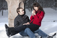 Couple in winter park Royalty Free Stock Images