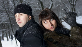 Couple in winter park Stock Photography