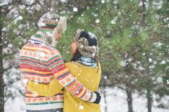 Couple in the winter park Royalty Free Stock Photos