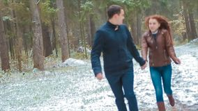 Couple winter snow coniferous forest walking man and woman holding hands in snowy park slow motion stock video footage