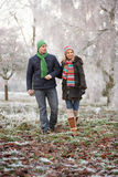 Couple On Winter Walk Through Frosty Landscape Royalty Free Stock Photo