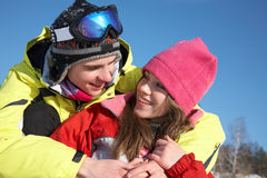 Couple in wintertime Stock Images