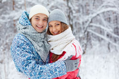Couple in winterwear Royalty Free Stock Images