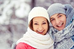 Couple in winterwear Royalty Free Stock Photos