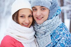 Couple in winterwear Stock Photography