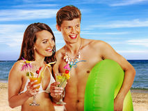 Free Couple With Cocktail At Hawaii Wreath Beach. Stock Image - 39569721