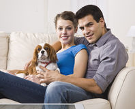 Couple With Dog Royalty Free Stock Image