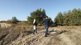 Couple wolking wood on sand stock footage