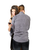 Couple with woman cheater. Person emotions and expressions portrait stock photography