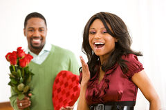 Couple: Woman Excited to Get Romantic Gifts Stock Images