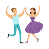 Couple In With Woman In Fancy Dress Dancing On Dancefloor, Part Of People At The Night Club Series Of Vector Royalty Free Stock Photos