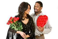 Couple: Woman Gets Romantic Gifts Stock Photo