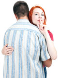 Couple, woman keeping silence Royalty Free Stock Images