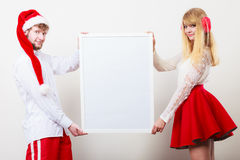 Couple woman and man with blank banner. Copy space Royalty Free Stock Photography