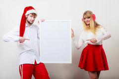 Couple woman and man with blank banner. Copy space Stock Image