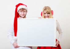 Couple woman and man with blank banner. Copy space Stock Images