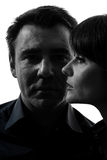 Couple woman man close up portrait silhouette Royalty Free Stock Images