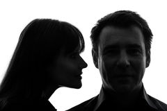 Couple woman man close up portrait silhouette Stock Photos