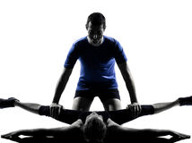 Couple woman man exercising workout Stock Photography