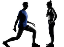 Couple woman man exercising workout Royalty Free Stock Photos