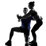 Couple woman man exercising workout Stock Photo