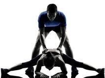 Couple woman man exercising workout Stock Photo