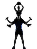 Couple woman man exercising workout Royalty Free Stock Images