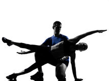 Couple woman man exercising workout Royalty Free Stock Photo
