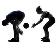 Couple woman man exercising workout Stock Photos