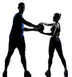Couple woman man exercising workout Royalty Free Stock Image